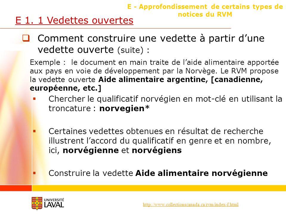 http://www.collectionscanada.ca/rvm/index-f.html E - Approfondissement de certains types de notices du RVM E 1. 1 Vedettes ouvertes Comment construire
