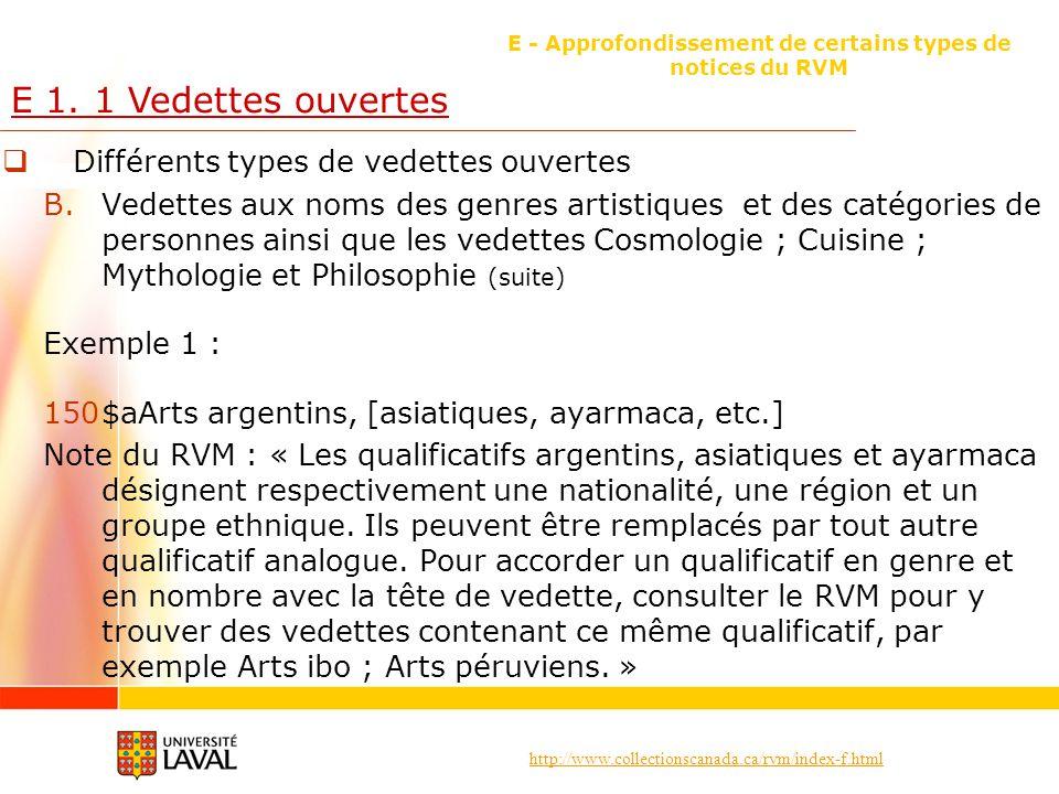 http://www.collectionscanada.ca/rvm/index-f.html E - Approfondissement de certains types de notices du RVM E 1. 1 Vedettes ouvertes Différents types d