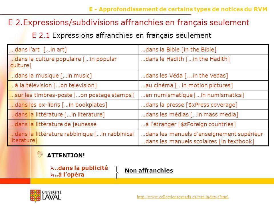 http://www.collectionscanada.ca/rvm/index-f.html E - Approfondissement de certains types de notices du RVM E 2.1 Expressions affranchies en français seulement E 2.Expressions/subdivisions affranchies en français seulement ATTENTION.