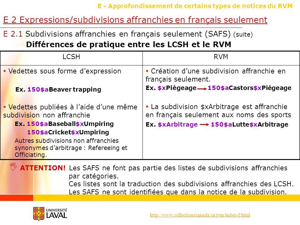 http://www.collectionscanada.ca/rvm/index-f.html E - Approfondissement de certains types de notices du RVM E 2 Expressions/subdivisions affranchies en