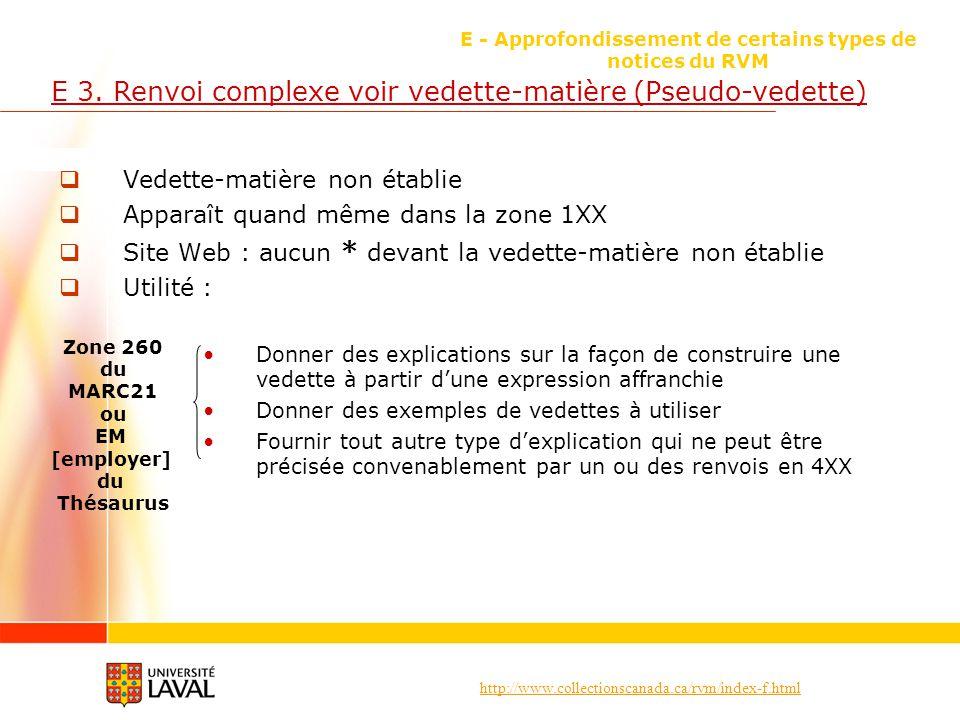 http://www.collectionscanada.ca/rvm/index-f.html E - Approfondissement de certains types de notices du RVM E 3. Renvoi complexe voir vedette-matière (