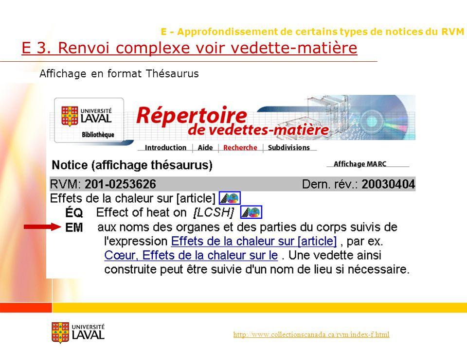 http://www.collectionscanada.ca/rvm/index-f.html E - Approfondissement de certains types de notices du RVM E 3. Renvoi complexe voir vedette-matière A