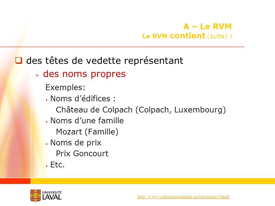 http://www.collectionscanada.ca/rvm/index-f.html des têtes de vedette représentant des noms propres Exemples: Noms dédifices : Château de Colpach (Colpach, Luxembourg) Noms dune famille Mozart (Famille) Noms de prix Prix Goncourt Etc.
