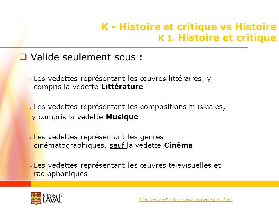 http://www.collectionscanada.ca/rvm/index-f.html K - Histoire et critique vs Histoire K 1. Histoire et critique Valide seulement sous : Les vedettes r