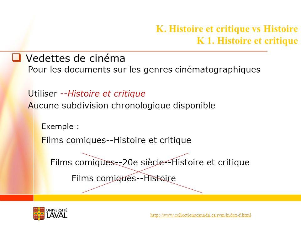 http://www.collectionscanada.ca/rvm/index-f.html K. Histoire et critique vs Histoire K 1. Histoire et critique Vedettes de cinéma Pour les documents s