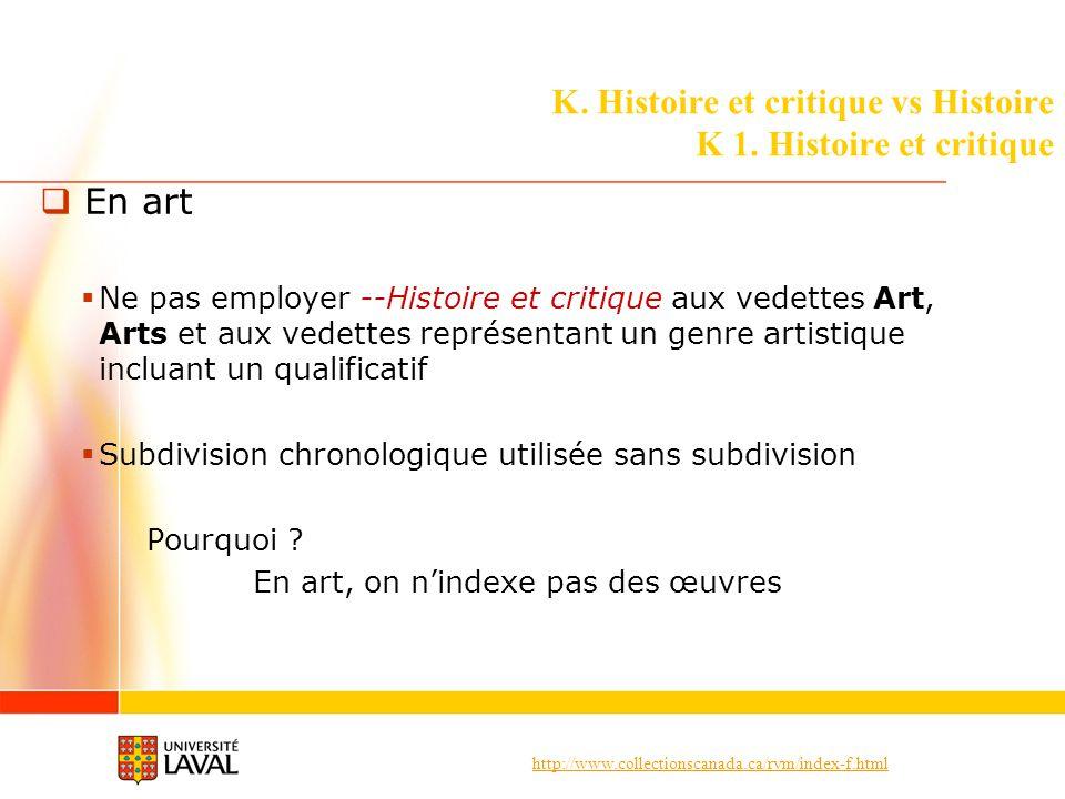 http://www.collectionscanada.ca/rvm/index-f.html K. Histoire et critique vs Histoire K 1. Histoire et critique En art Ne pas employer --Histoire et cr