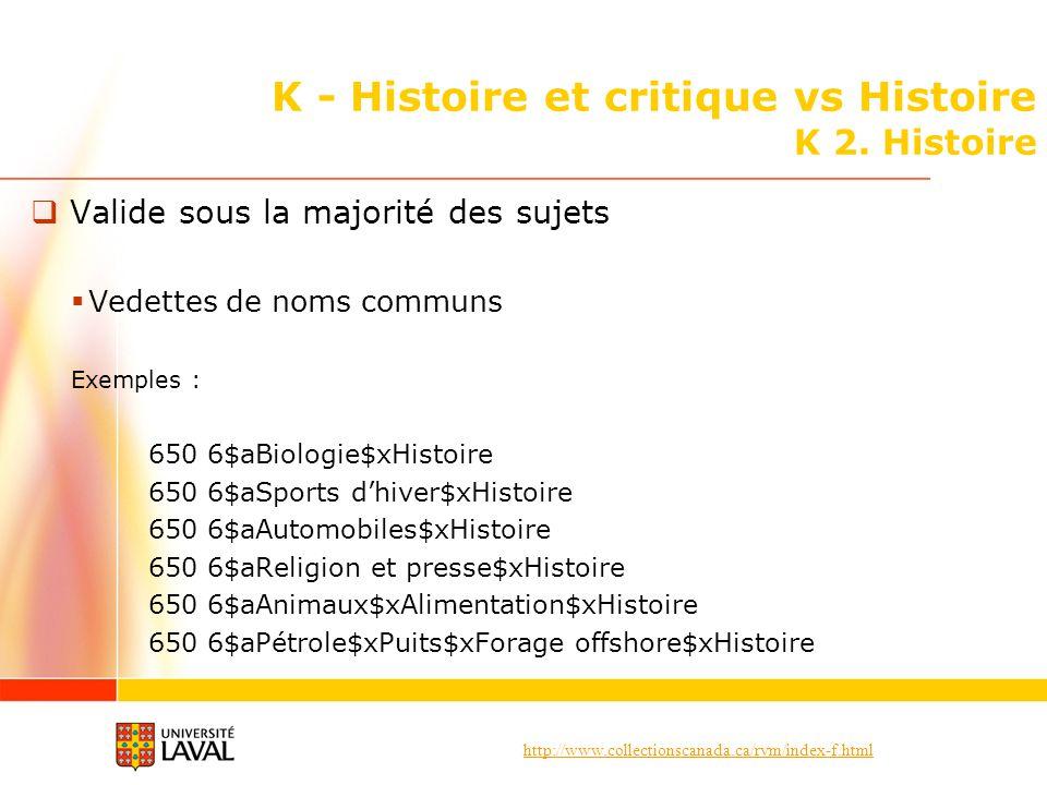 http://www.collectionscanada.ca/rvm/index-f.html K - Histoire et critique vs Histoire K 2. Histoire Valide sous la majorité des sujets Vedettes de nom