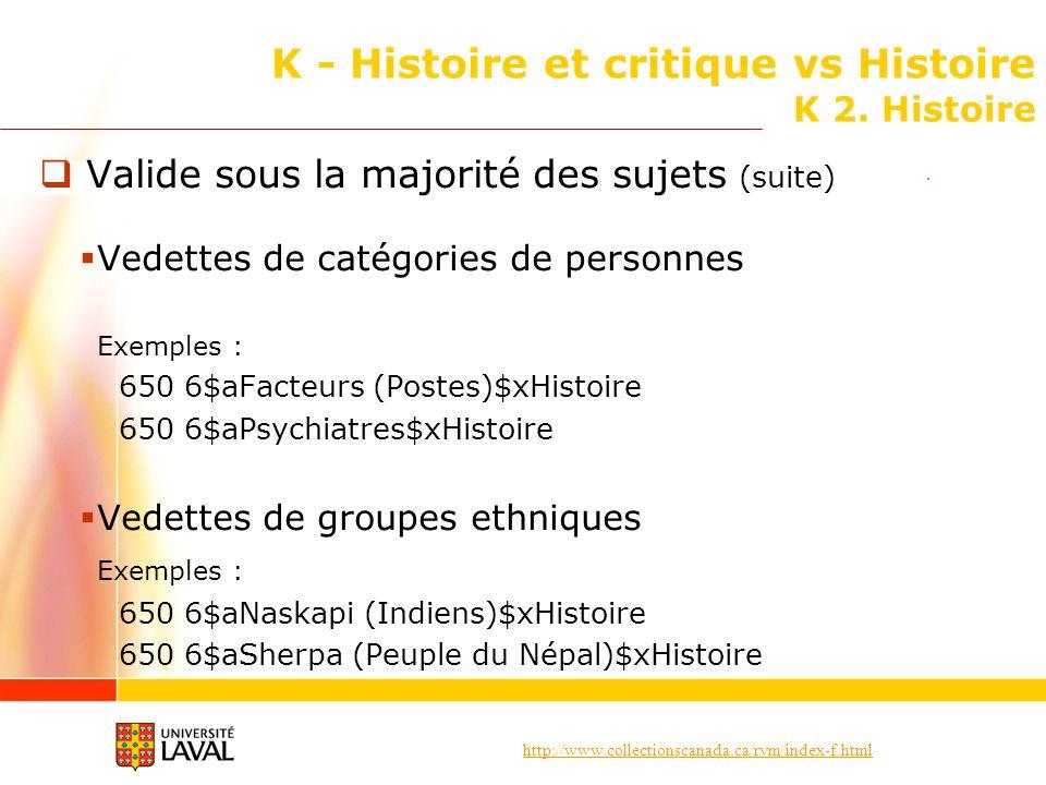http://www.collectionscanada.ca/rvm/index-f.html K - Histoire et critique vs Histoire K 2. Histoire Valide sous la majorité des sujets (suite) Vedette