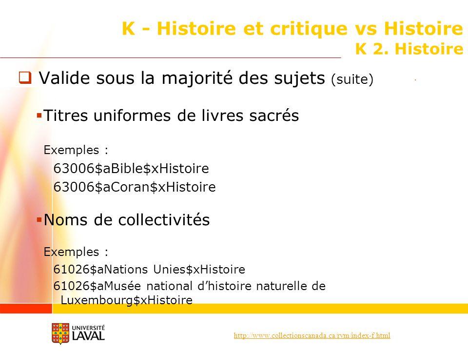 http://www.collectionscanada.ca/rvm/index-f.html K - Histoire et critique vs Histoire K 2. Histoire Valide sous la majorité des sujets (suite) Titres