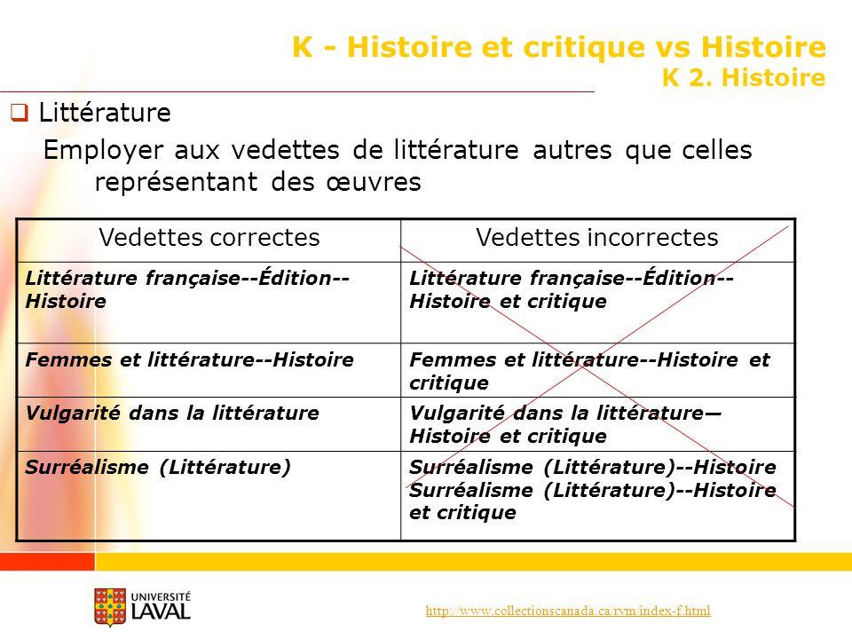 http://www.collectionscanada.ca/rvm/index-f.html K - Histoire et critique vs Histoire K 2. Histoire Littérature Employer aux vedettes de littérature a