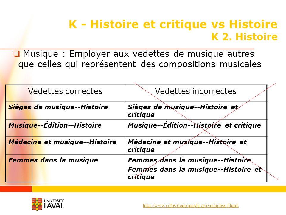 http://www.collectionscanada.ca/rvm/index-f.html K - Histoire et critique vs Histoire K 2. Histoire Musique : Employer aux vedettes de musique autres