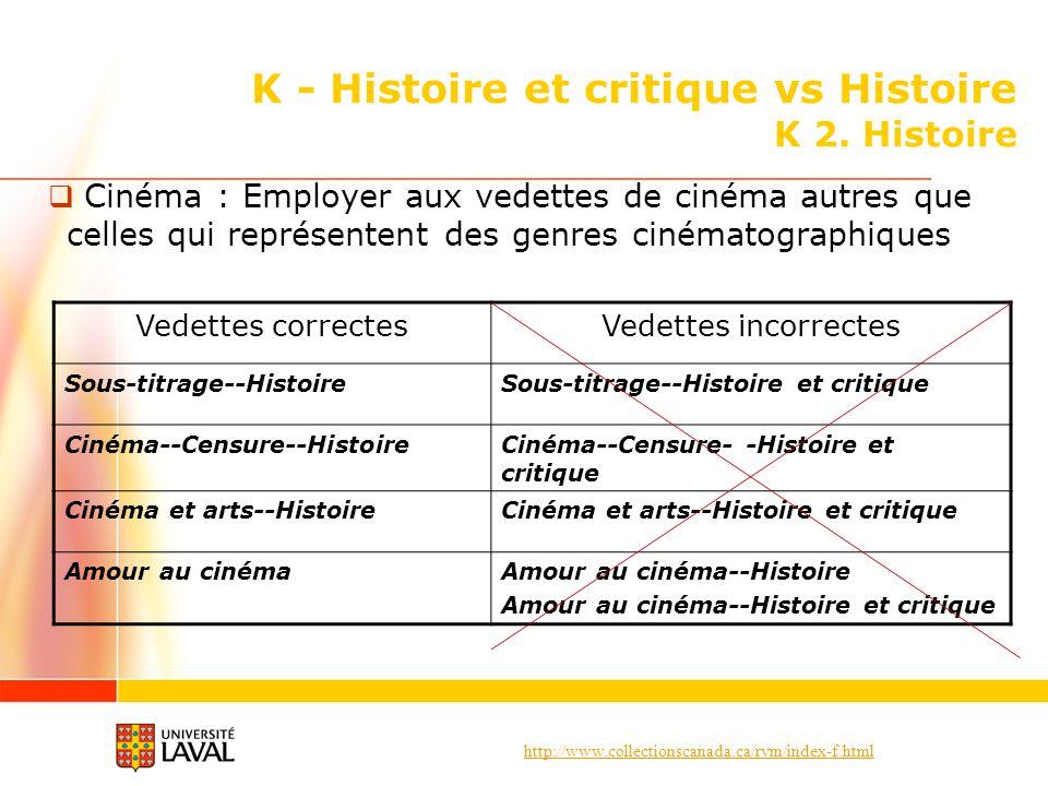 http://www.collectionscanada.ca/rvm/index-f.html K - Histoire et critique vs Histoire K 2. Histoire Cinéma : Employer aux vedettes de cinéma autres qu