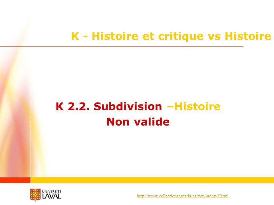 http://www.collectionscanada.ca/rvm/index-f.html K - Histoire et critique vs Histoire K 2.2. Subdivision –Histoire Non valide
