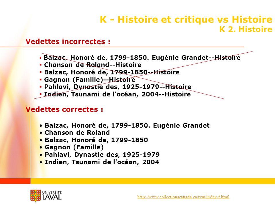 http://www.collectionscanada.ca/rvm/index-f.html K - Histoire et critique vs Histoire K 2. Histoire Vedettes incorrectes : Balzac, Honoré de, 1799-185
