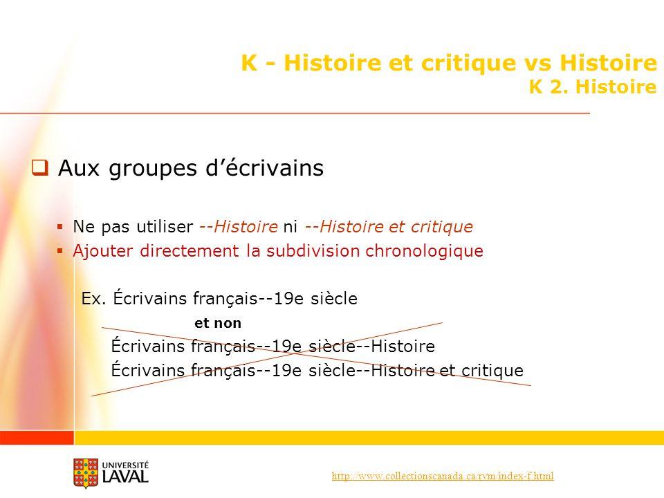 http://www.collectionscanada.ca/rvm/index-f.html K - Histoire et critique vs Histoire K 2. Histoire Aux groupes décrivains Ne pas utiliser --Histoire