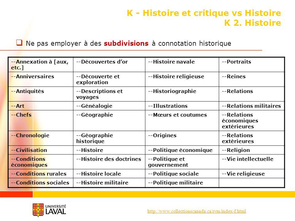 http://www.collectionscanada.ca/rvm/index-f.html K - Histoire et critique vs Histoire K 2. Histoire Ne pas employer à des subdivisions à connotation h