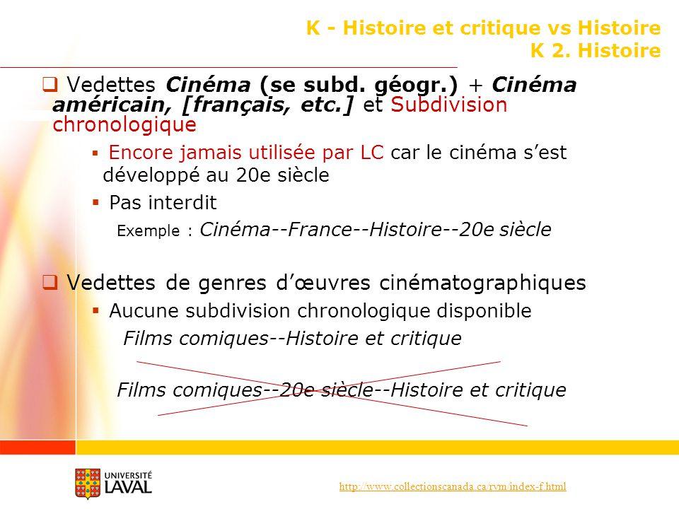 http://www.collectionscanada.ca/rvm/index-f.html K - Histoire et critique vs Histoire K 2. Histoire Vedettes Cinéma (se subd. géogr.) + Cinéma américa