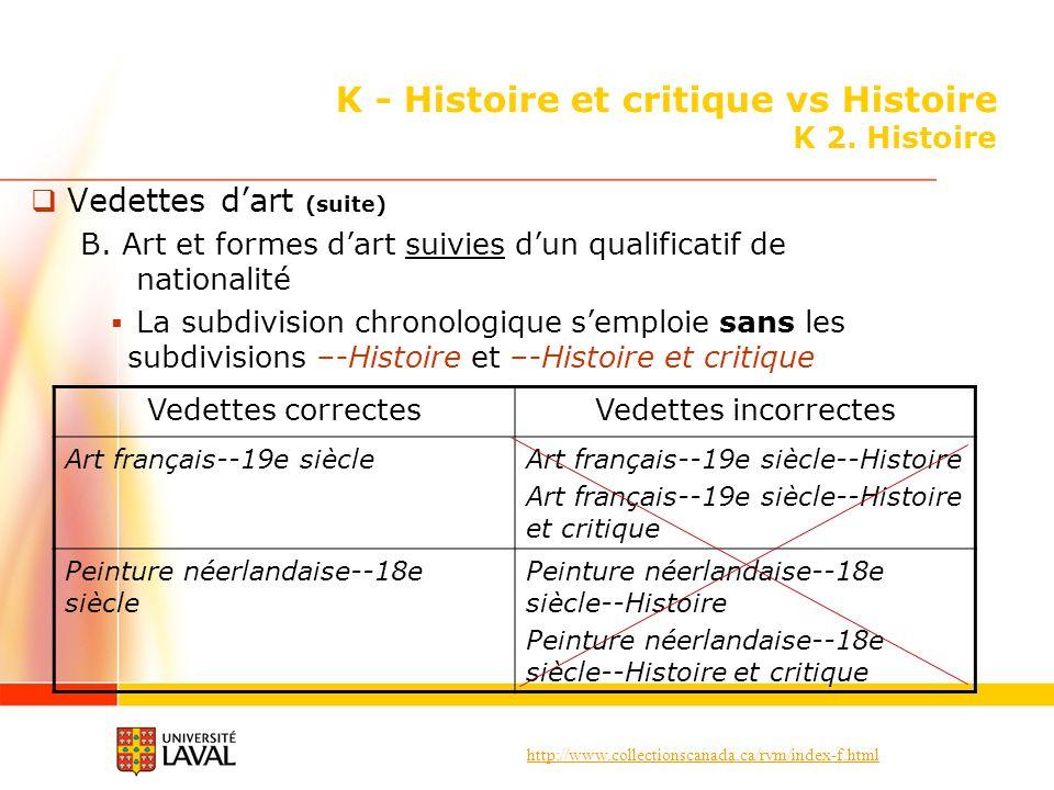 http://www.collectionscanada.ca/rvm/index-f.html K - Histoire et critique vs Histoire K 2. Histoire Vedettes dart (suite) B. Art et formes dart suivie