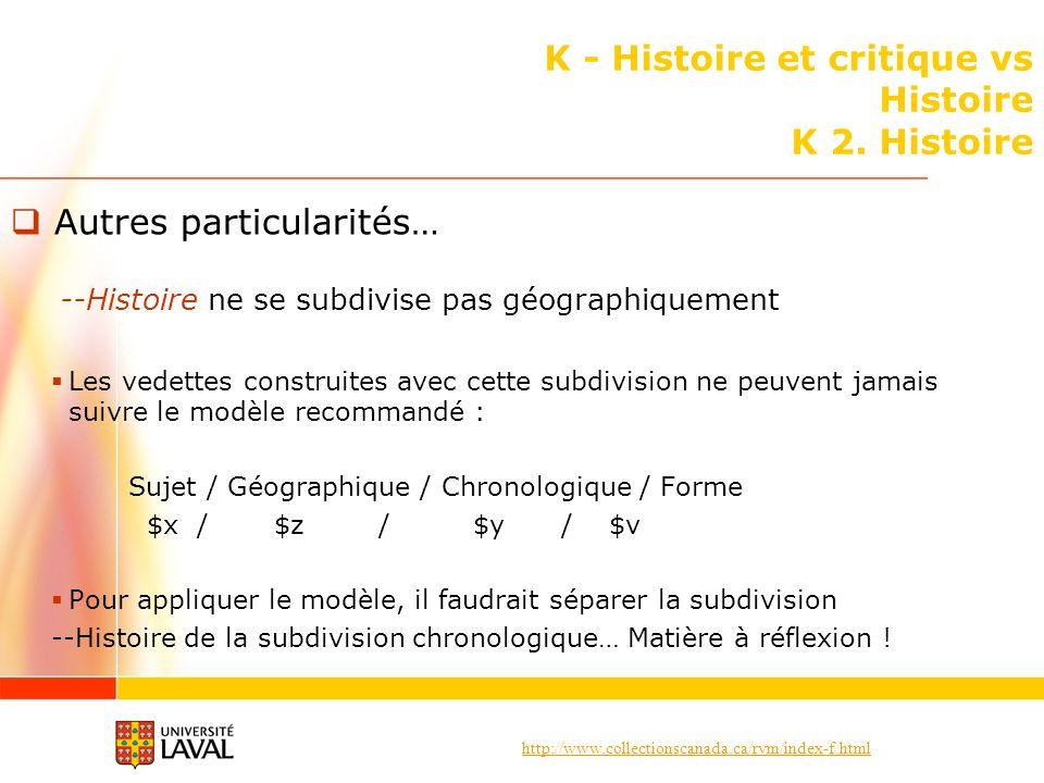http://www.collectionscanada.ca/rvm/index-f.html K - Histoire et critique vs Histoire K 2. Histoire Autres particularités… --Histoire ne se subdivise