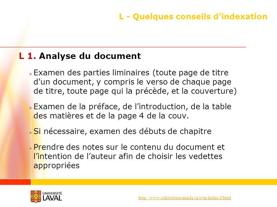 http://www.collectionscanada.ca/rvm/index-f.html L - Quelques conseils dindexation L 1. Analyse du document Examen des parties liminaires (toute page
