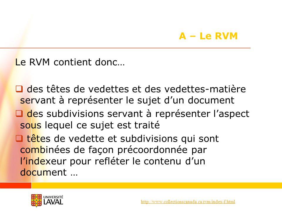 http://www.collectionscanada.ca/rvm/index-f.html Le RVM contient donc… des têtes de vedettes et des vedettes-matière servant à représenter le sujet dun document des subdivisions servant à représenter laspect sous lequel ce sujet est traité têtes de vedette et subdivisions qui sont combinées de façon précoordonnée par lindexeur pour refléter le contenu dun document … A – Le RVM