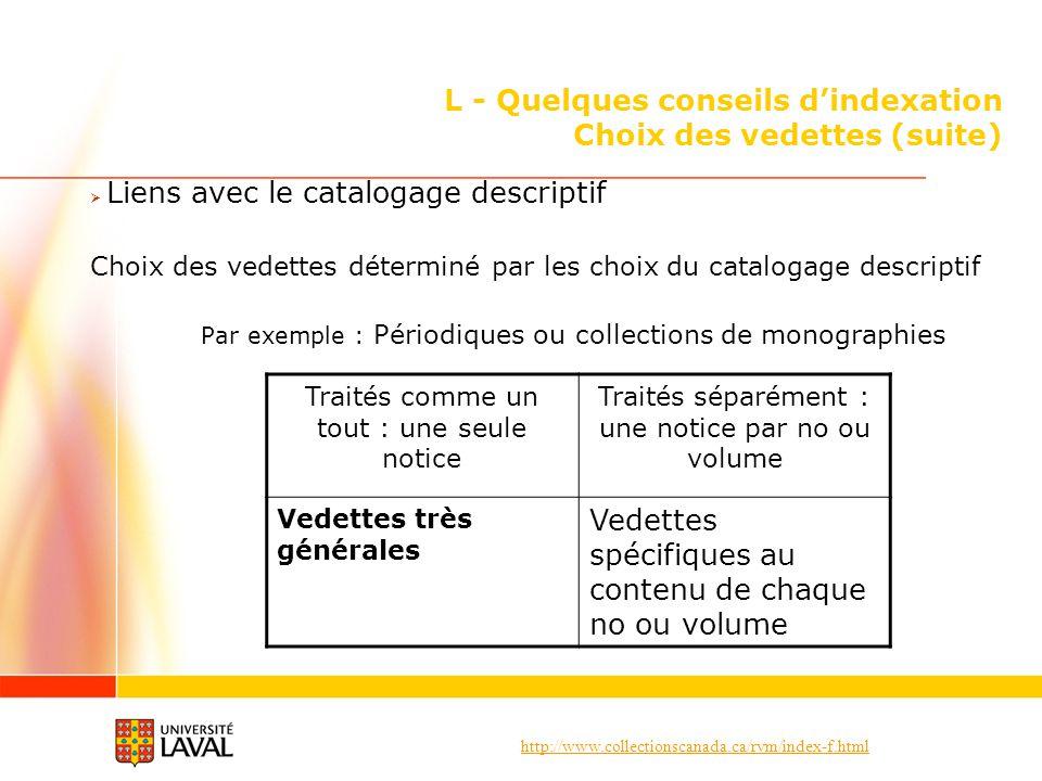 http://www.collectionscanada.ca/rvm/index-f.html L - Quelques conseils dindexation Choix des vedettes (suite) Liens avec le catalogage descriptif Choi