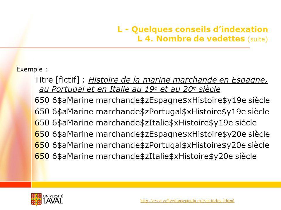 http://www.collectionscanada.ca/rvm/index-f.html L - Quelques conseils dindexation L 4. Nombre de vedettes (suite) Exemple : Titre [fictif] : Histoire