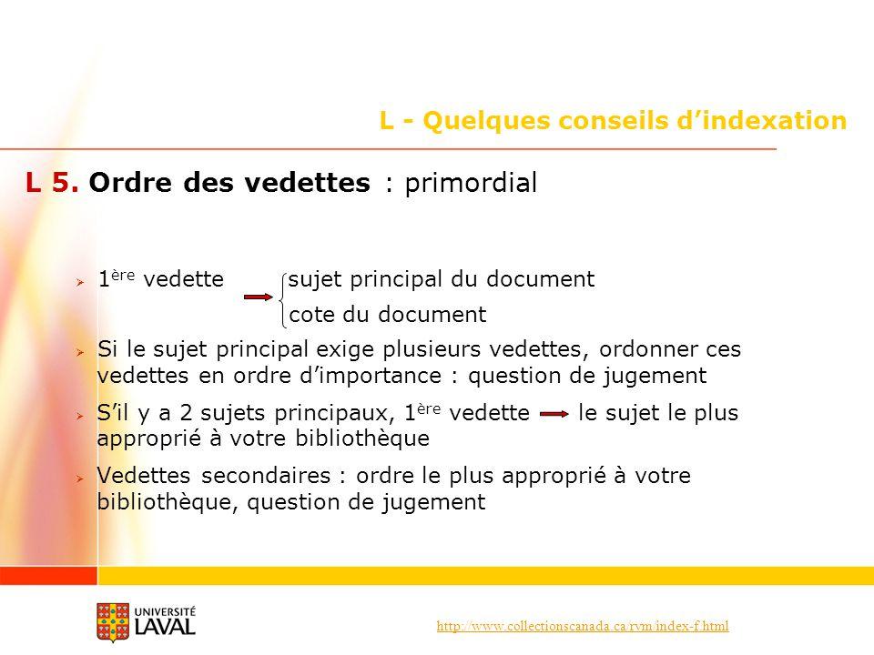 http://www.collectionscanada.ca/rvm/index-f.html L - Quelques conseils dindexation L 5. Ordre des vedettes : primordial 1 ère vedette sujet principal