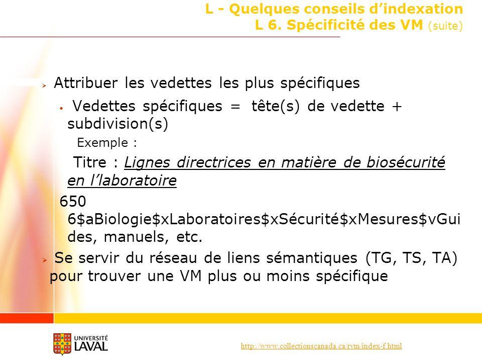 http://www.collectionscanada.ca/rvm/index-f.html L - Quelques conseils dindexation L 6. Spécificité des VM (suite) Attribuer les vedettes les plus spé