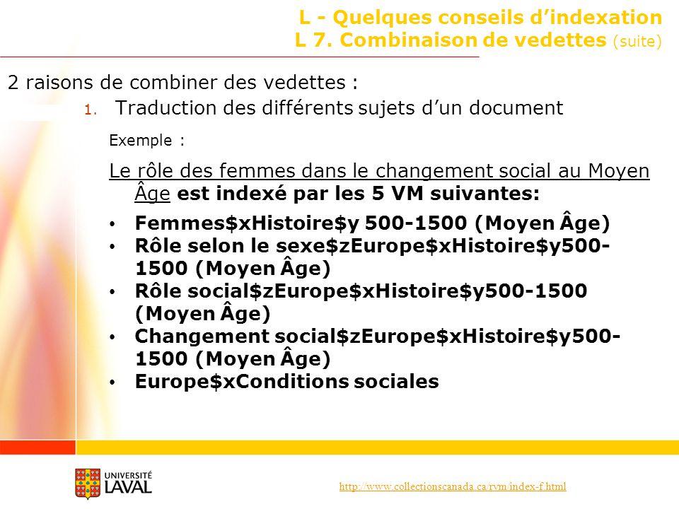 http://www.collectionscanada.ca/rvm/index-f.html L - Quelques conseils dindexation L 7. Combinaison de vedettes (suite) 2 raisons de combiner des vede