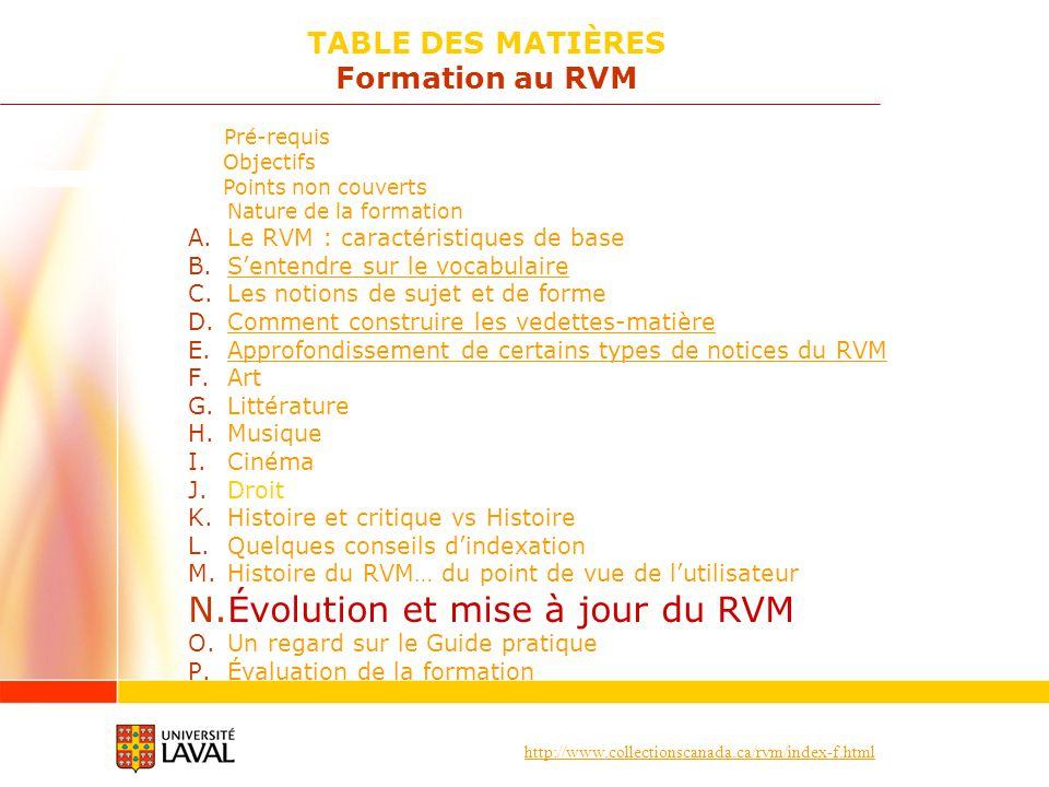 http://www.collectionscanada.ca/rvm/index-f.html Pré-requis Objectifs Points non couverts Nature de la formation A.Le RVM : caractéristiques de base B.Sentendre sur le vocabulaireSentendre sur le vocabulaire C.Les notions de sujet et de forme D.Comment construire les vedettes-matièreComment construire les vedettes-matière E.Approfondissement de certains types de notices du RVMApprofondissement de certains types de notices du RVM F.Art G.Littérature H.Musique I.Cinéma J.Droit K.Histoire et critique vs Histoire L.Quelques conseils dindexation M.Histoire du RVM… du point de vue de lutilisateur N.Évolution et mise à jour du RVM O.Un regard sur le Guide pratique P.Évaluation de la formation TABLE DES MATIÈRES Formation au RVM