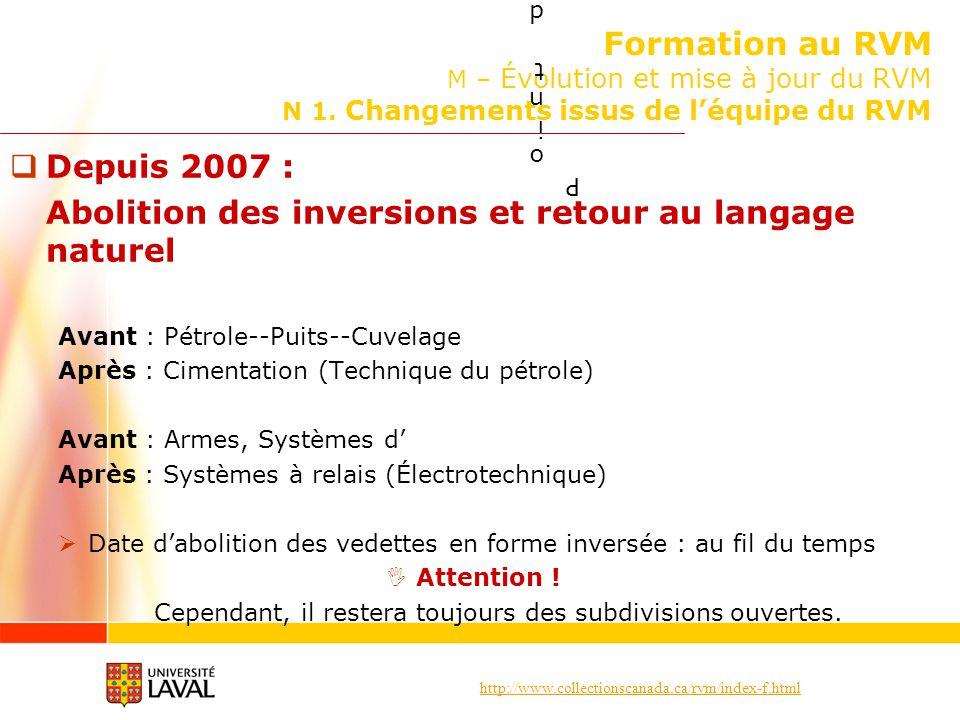 http://www.collectionscanada.ca/rvm/index-f.html Formation au RVM M – Évolution et mise à jour du RVM N 1. Changements issus de léquipe du RVM Depuis