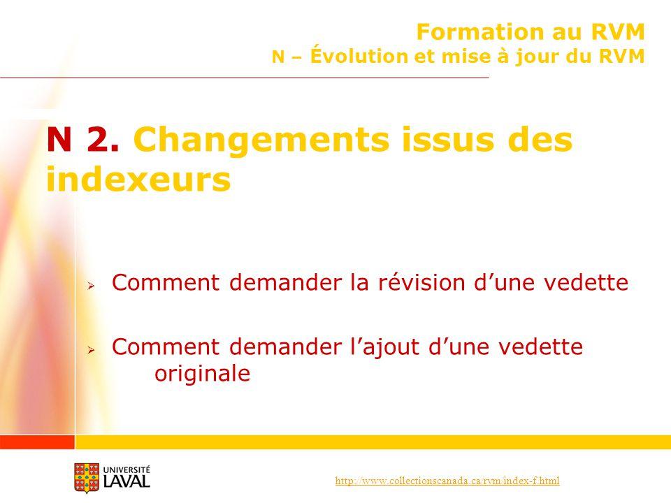 http://www.collectionscanada.ca/rvm/index-f.html Formation au RVM N – Évolution et mise à jour du RVM N 2. Changements issus des indexeurs Comment dem