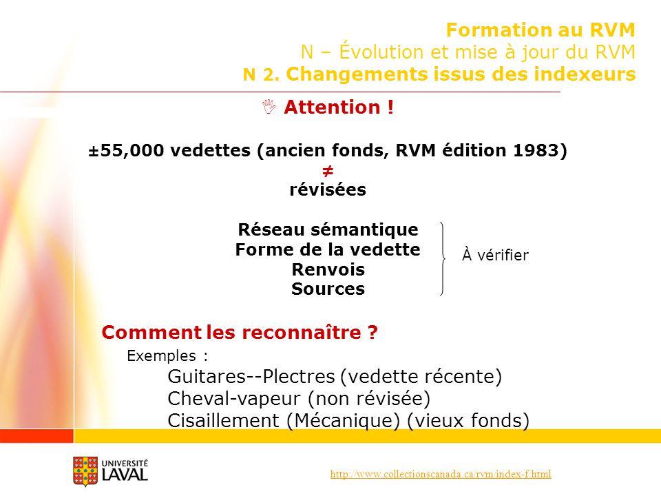 http://www.collectionscanada.ca/rvm/index-f.html Formation au RVM N – Évolution et mise à jour du RVM N 2. Changements issus des indexeurs Attention !