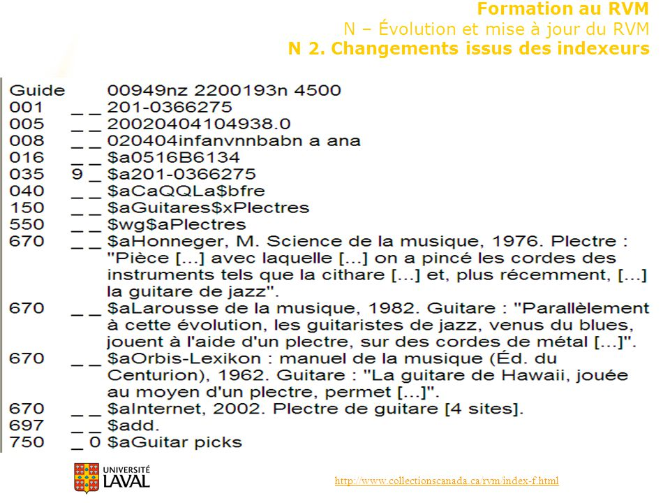 http://www.collectionscanada.ca/rvm/index-f.html Formation au RVM N – Évolution et mise à jour du RVM N 2. Changements issus des indexeurs