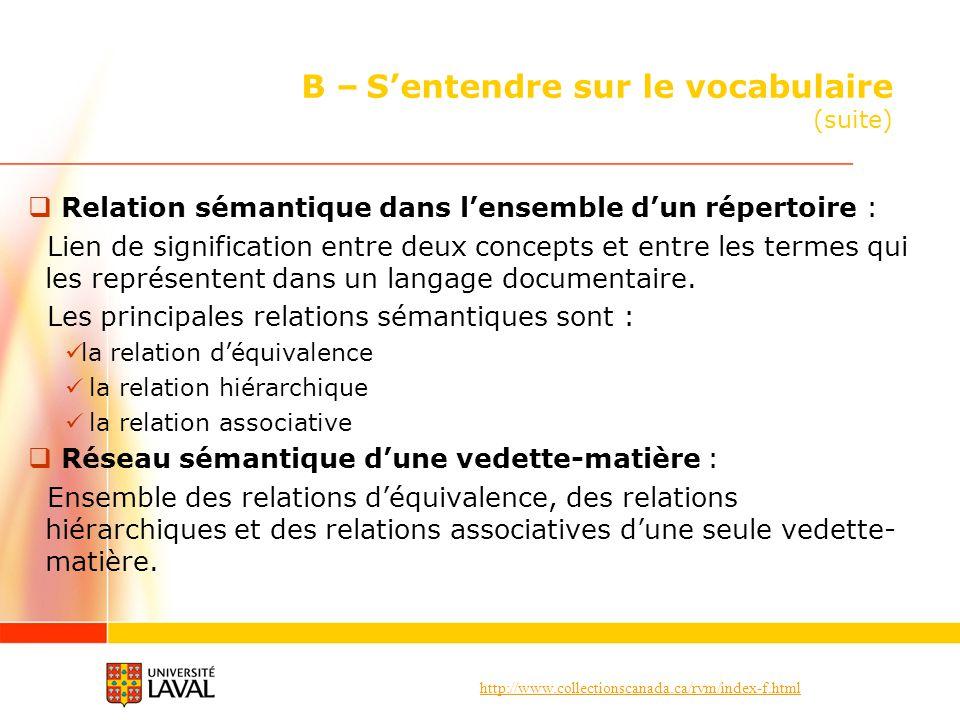 http://www.collectionscanada.ca/rvm/index-f.html B – Sentendre sur le vocabulaire (suite) Relation sémantique dans lensemble dun répertoire : Lien de signification entre deux concepts et entre les termes qui les représentent dans un langage documentaire.