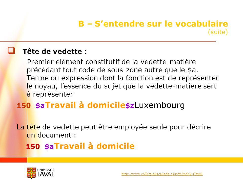 http://www.collectionscanada.ca/rvm/index-f.html B – Sentendre sur le vocabulaire (suite) Tête de vedette : Premier élément constitutif de la vedette-