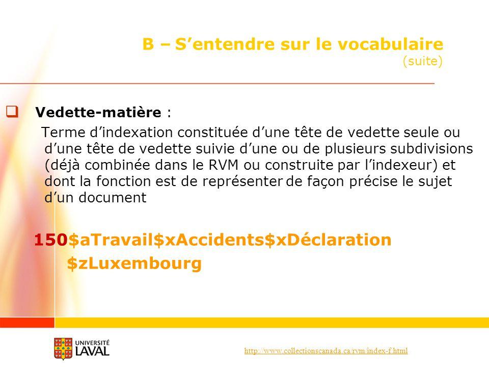 http://www.collectionscanada.ca/rvm/index-f.html B – Sentendre sur le vocabulaire (suite) Vedette-matière : Terme dindexation constituée dune tête de