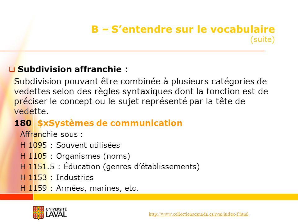 http://www.collectionscanada.ca/rvm/index-f.html B – Sentendre sur le vocabulaire (suite) Subdivision affranchie : Subdivision pouvant être combinée à