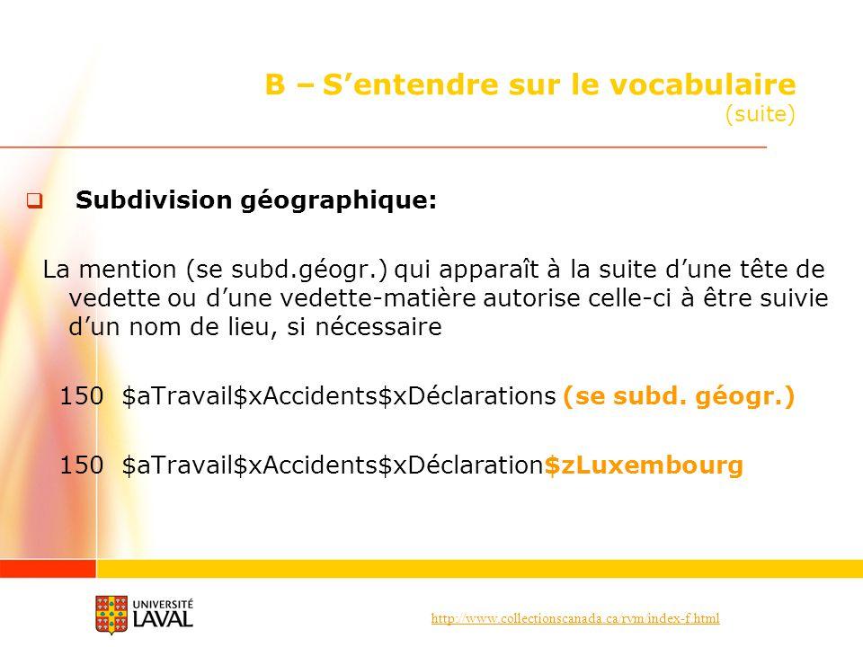 http://www.collectionscanada.ca/rvm/index-f.html B – Sentendre sur le vocabulaire (suite) Subdivision géographique: La mention (se subd.géogr.) qui ap