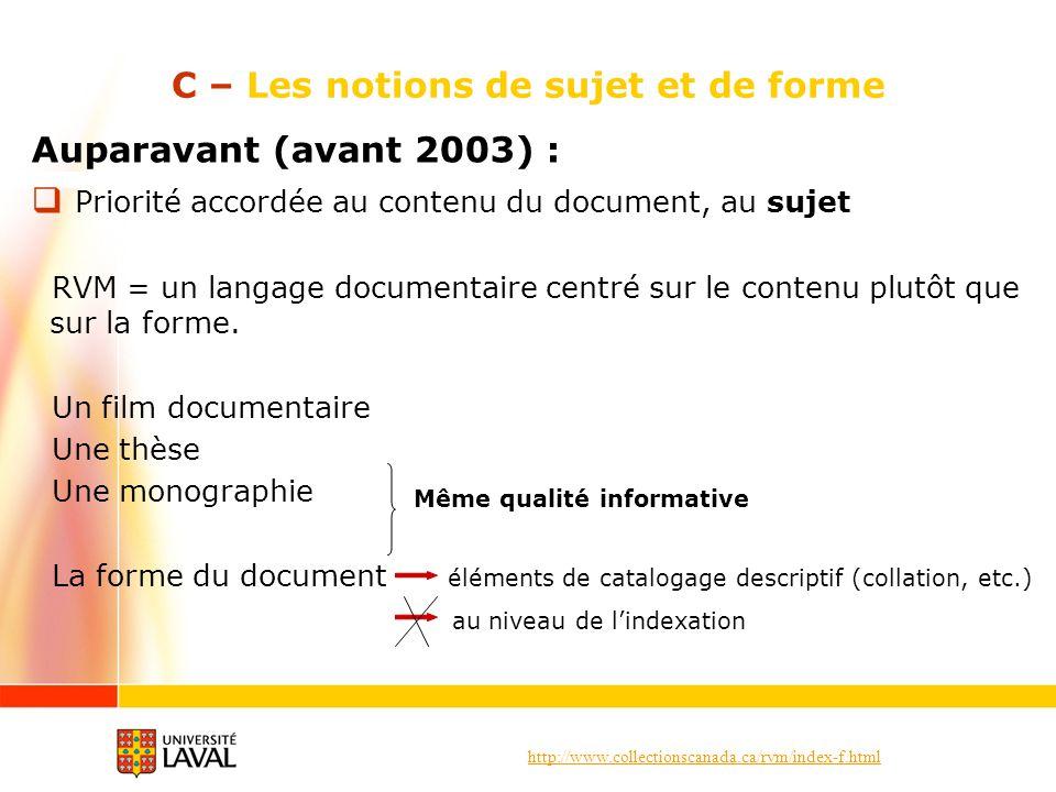 http://www.collectionscanada.ca/rvm/index-f.html C – Les notions de sujet et de forme Auparavant (avant 2003) : Priorité accordée au contenu du document, au sujet RVM = un langage documentaire centré sur le contenu plutôt que sur la forme.