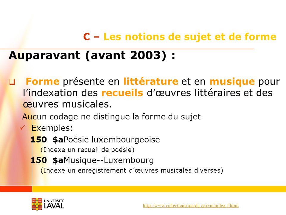 http://www.collectionscanada.ca/rvm/index-f.html C – Les notions de sujet et de forme Auparavant (avant 2003) : Forme présente en littérature et en mu