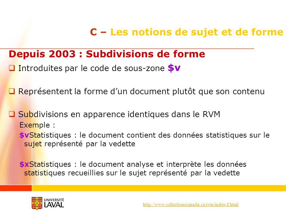 http://www.collectionscanada.ca/rvm/index-f.html C – Les notions de sujet et de forme Depuis 2003 : Subdivisions de forme Introduites par le code de s