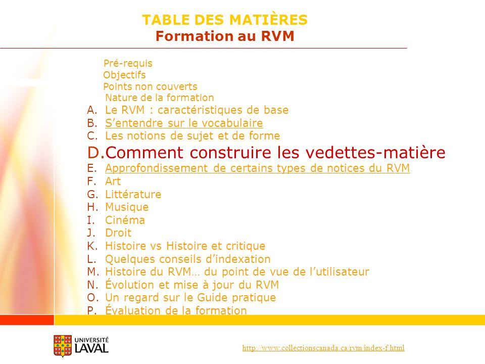 http://www.collectionscanada.ca/rvm/index-f.html Pré-requis Objectifs Points non couverts Nature de la formation A.Le RVM : caractéristiques de base B.Sentendre sur le vocabulaireSentendre sur le vocabulaire C.Les notions de sujet et de forme D.Comment construire les vedettes-matière E.Approfondissement de certains types de notices du RVMApprofondissement de certains types de notices du RVM F.Art G.Littérature H.Musique I.Cinéma J.Droit K.Histoire vs Histoire et critique L.Quelques conseils dindexation M.Histoire du RVM… du point de vue de lutilisateur N.Évolution et mise à jour du RVM O.Un regard sur le Guide pratique P.Évaluation de la formation TABLE DES MATIÈRES Formation au RVM