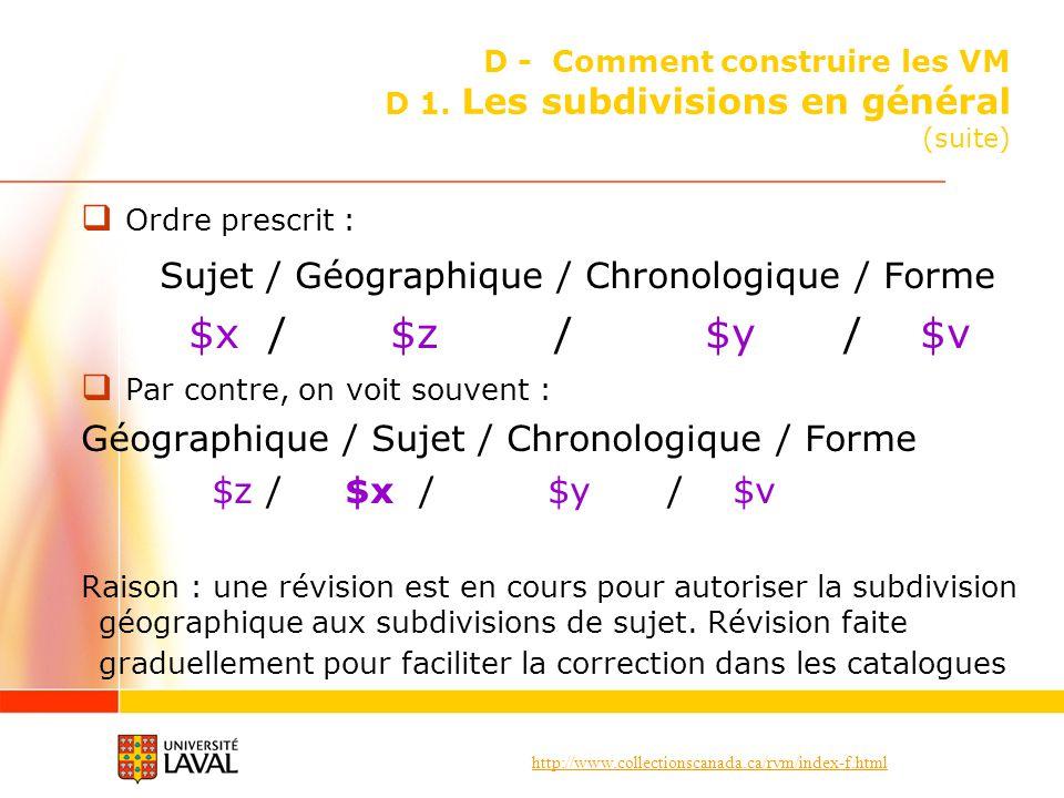 http://www.collectionscanada.ca/rvm/index-f.html D - Comment construire les VM D 1. Les subdivisions en général (suite) Ordre prescrit : Sujet / Géogr
