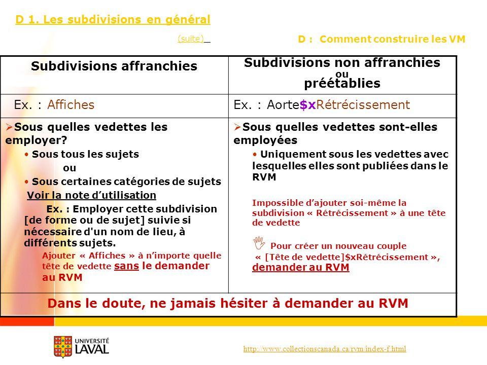 http://www.collectionscanada.ca/rvm/index-f.html D : Comment construire les VM D 1. Les subdivisions en général (suite) Subdivisions affranchies Subdi
