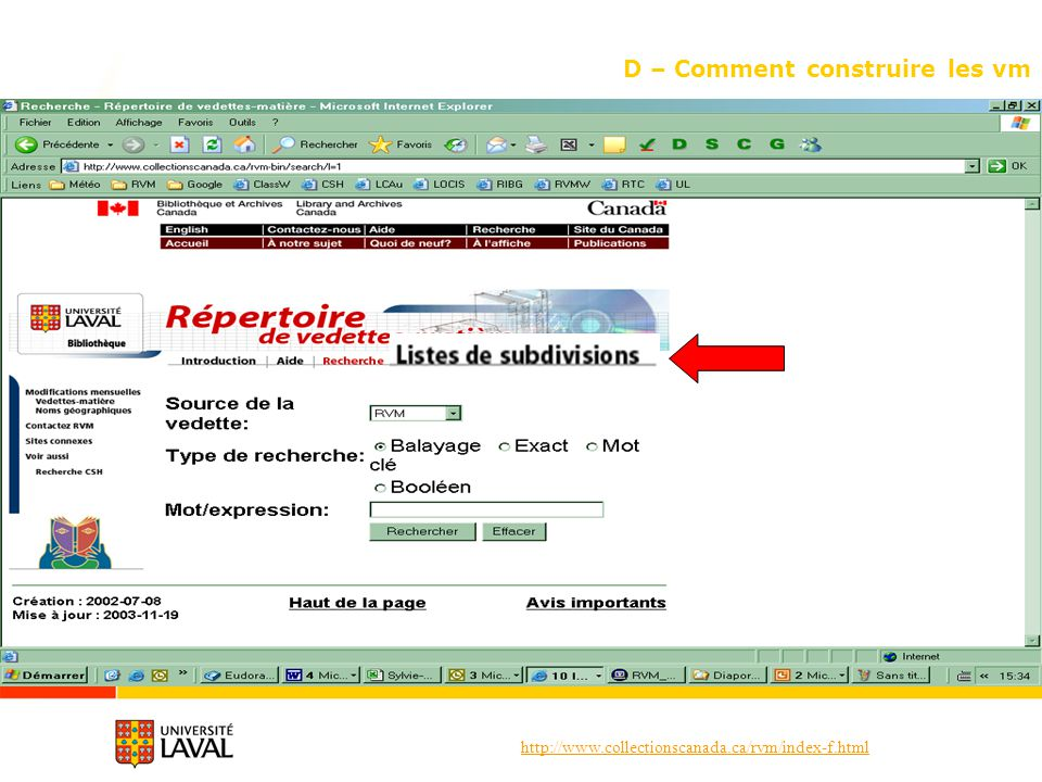 http://www.collectionscanada.ca/rvm/index-f.html D – Comment construire les vm