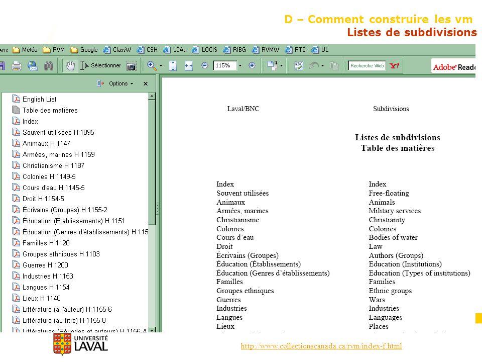 http://www.collectionscanada.ca/rvm/index-f.html D – Comment construire les vm Listes de subdivisions