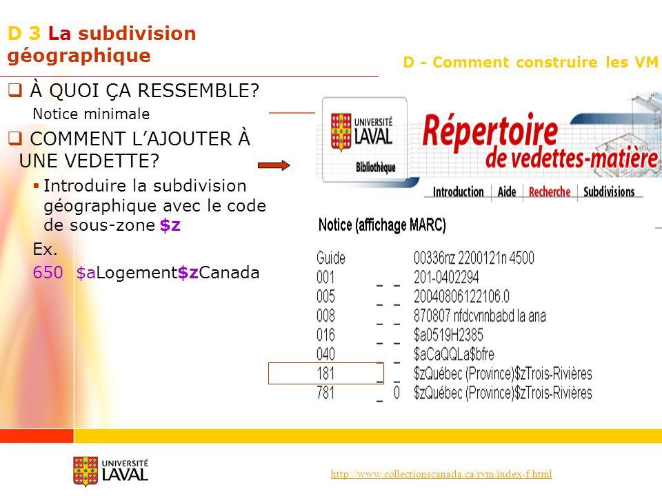 http://www.collectionscanada.ca/rvm/index-f.html D - Comment construire les VM D 3 La subdivision géographique À QUOI ÇA RESSEMBLE? Notice minimale CO
