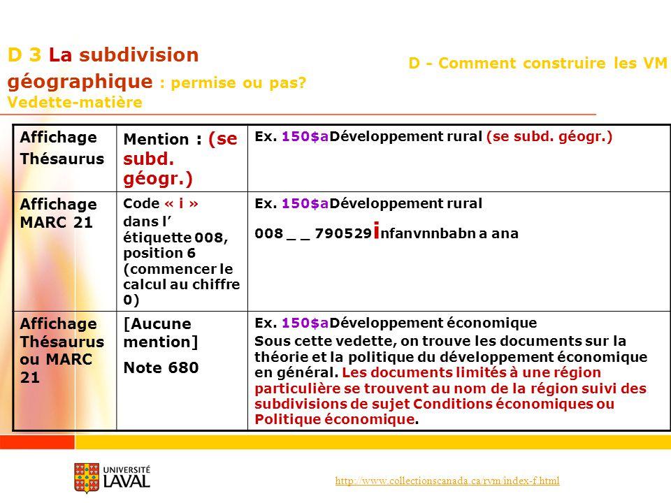 http://www.collectionscanada.ca/rvm/index-f.html D - Comment construire les VM D 3 La subdivision géographique : permise ou pas? Vedette-matière Affic